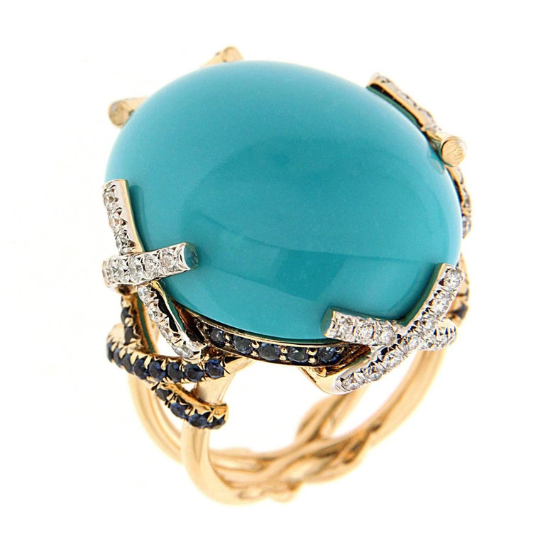 Valentin Magro Oval Cabochon Turquoise Ring with Diamonds & Sapphire on X Motif