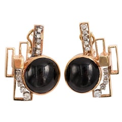 Abstract Gold and Diamond Earrings