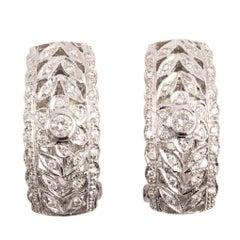 Art Deco Style 18 Karat White Gold Diamond J Hoop Earrings