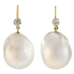 Late Victorian South Sea Pearl Diamond Earrings