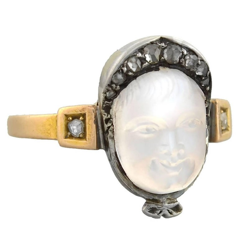 Victorian Diamond Hand-Carved Moonstone Baby Cameo Ring