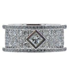 White Gold Diamond Pave and Princess Cut Ring