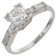 Art Deco .75 Carat Transitional Cut Diamond Platinum Engagement Ring