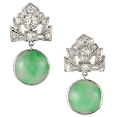 GIA Certified Art Deco Jadeite Jade Diamonds Dangle Platinum Earrings