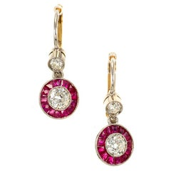 Diamonds Ruby Halo Platinum Gold Dangle Earrings