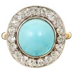 GIA Certified Round Turquoise Diamond Halo Platinum Gold Cocktail Ring