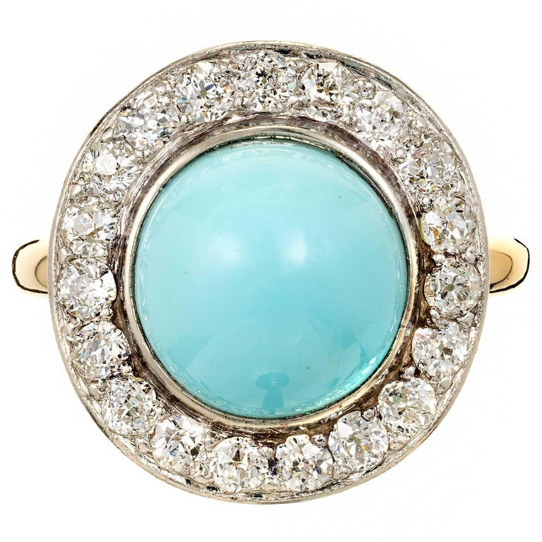 GIA Certified Round Turquoise Diamond Halo Platinum Gold Cocktail Ring