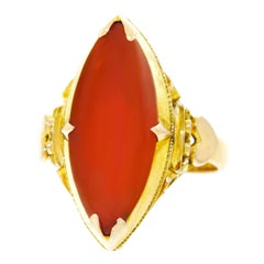 Peranakan Carnelian Set Gold Ring