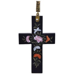 Antique Florentine Pietra Dura Inlaid Cross