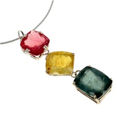 47 Carat of Peachy Pink, Yellow, Bluegreen Tourmaline Sterling Silver Pendant