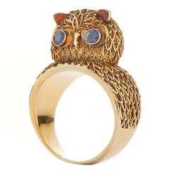 Gold Wirework Owl Ring, circa 1940s