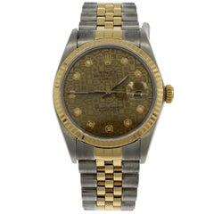 Rolex Yellow Gold Stainless Steel Datejust Jubilee Dial Wristwatch, 1986