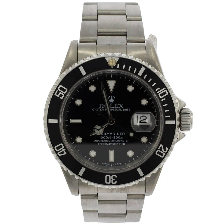 Rolex Stainless Steel Aluminium Bezel Submariner Wristwatch Ref 16610, 1997