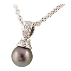 BOUCHERON Black Pearl Diamond Necklace 18 Karat White Gold