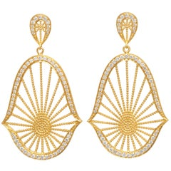Diamond and 18 Karat Yellow Gold Oriental Statement Earrings
