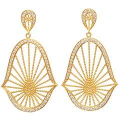 Diamond and 18 Karat Yellow Gold Oriental Statement Earrings