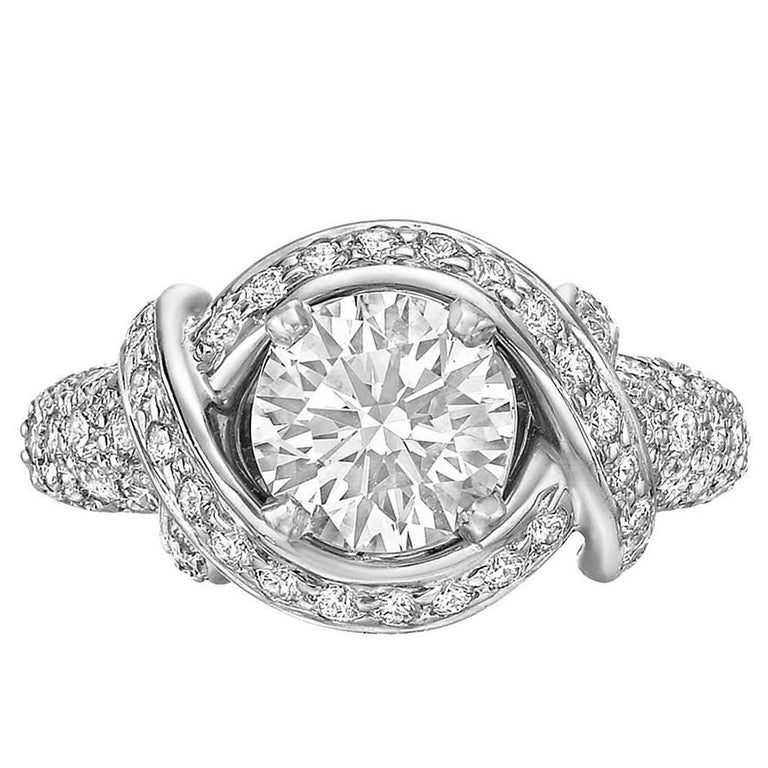 593a0bf36 Tiffany & Co. 1.36 Carat Round Brilliant Diamond Schlumberger Engagement  Ring For Sale