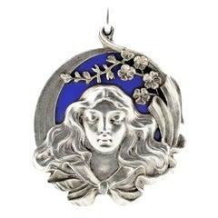 Antique Fabergé Art Nouveau Silver and Enamel Slide Locket with Mirror