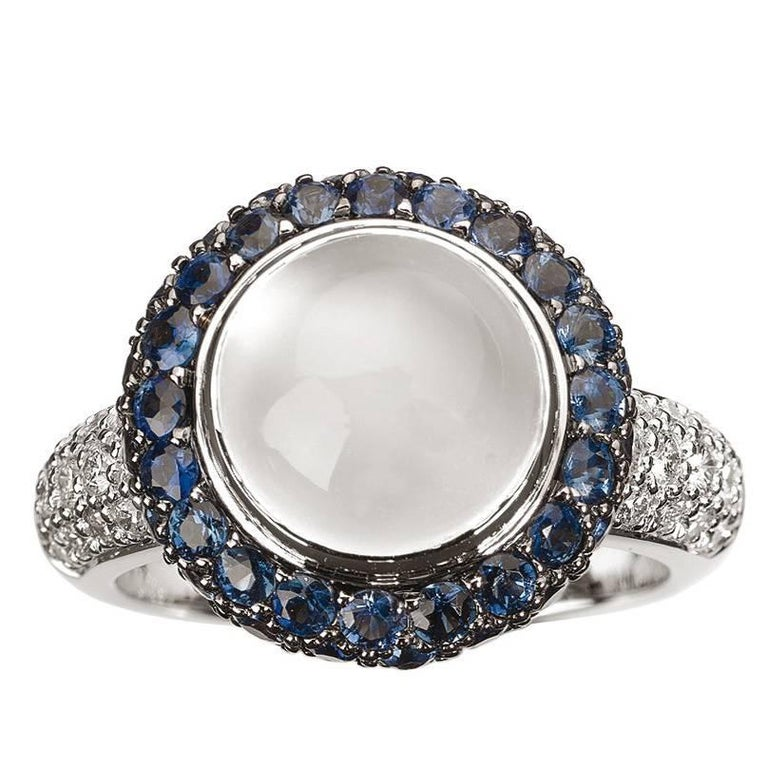 Monseo White Moonstone, Blue Sapphires and Diamonds Gold Cocktail Ring