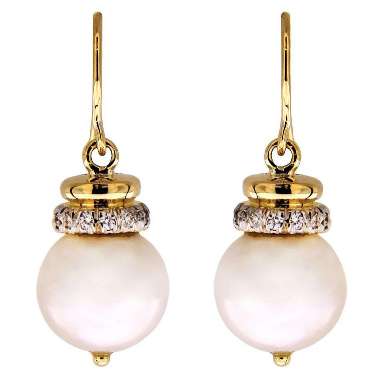 Valentin Magro Round Pearl Earrings with Diamond Cap and French Wire