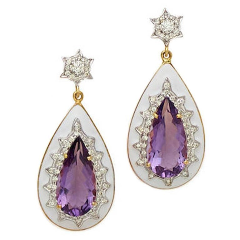 Amethyst, Diamond and Enamel Yellow Gold Earrings For Sale