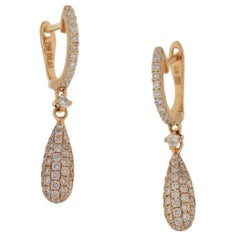 Diamond Hoop Drop Earrings in 18 Carat Rose Gold