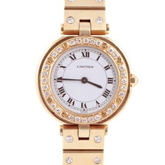 """Cartier"" Watch with after Market Diamond Bezel and Diamond Band"