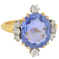 Edwardian 6.80 Carat Natural Ceylon Sapphire Diamond Ring
