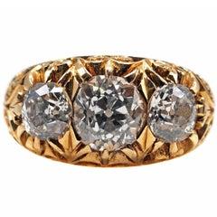 Victorian  Three-Stone Diamond Gold Engagement Ring