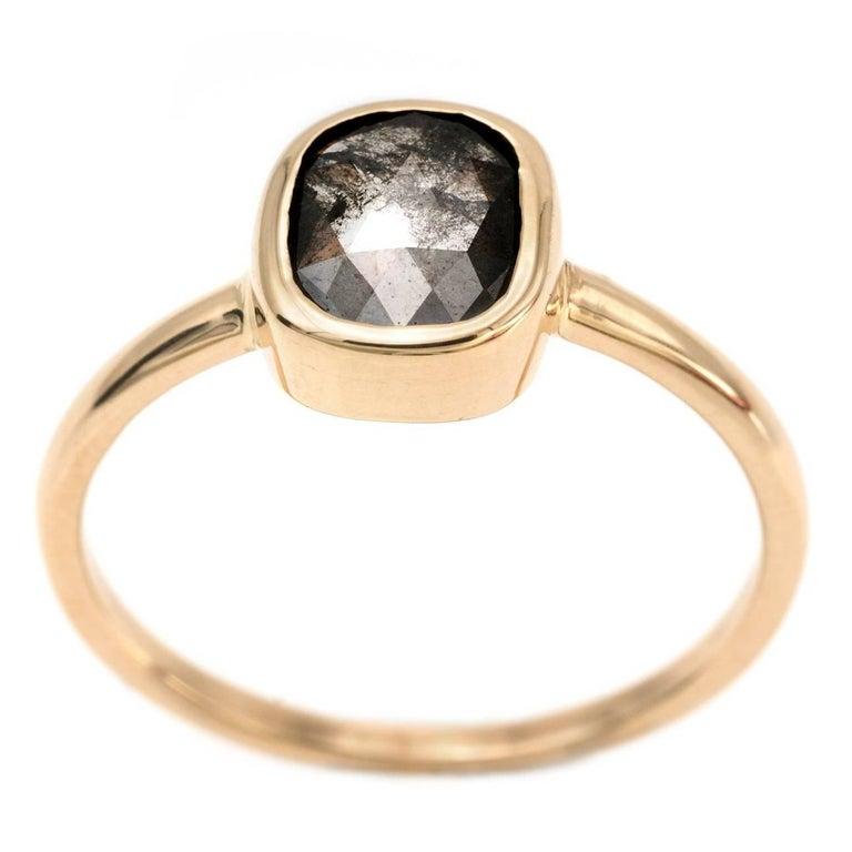 1.03 Carat Brown Cushion Diamond Ring is Yellow Gold