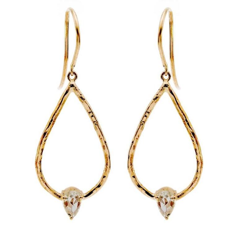 18 Karat Rose Cut Diamond Drop Earrings