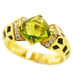 Cartier Peridot Diamond 18 Karat Yellow Gold Lacquer Starlet Ring