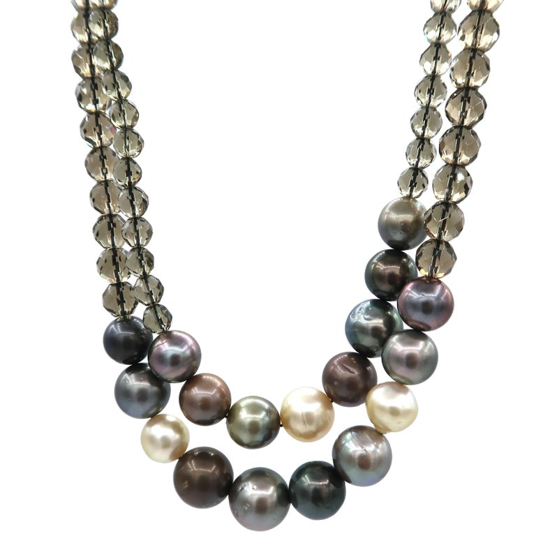 South Sea Pearls Tahitian Smoky Quartz Bead Two Strands Necklace For Sale