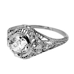 .60 Carat Diamond Antique Engagement Ring Platinum