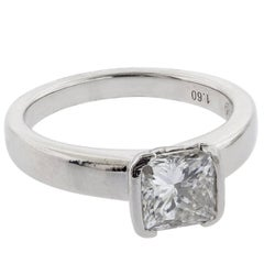 1.60 Carat H/VS2 Princess Cut Diamond and Platinum Ring