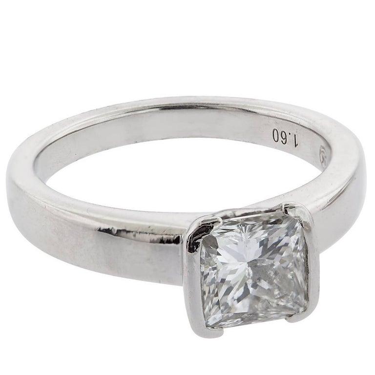 1.60 Carat H/VS2 Princess Cut Diamond and Platinum Ring