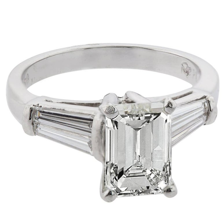 2.09 Carat Emerald Cut Diamond with Baguette Diamonds Platinum Engagement Ring