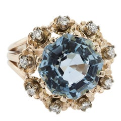 6.61 Carat Octagonal Cut Aquamarine and Diamond Rose Gold Ring