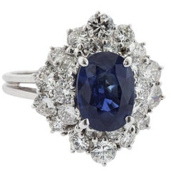 3.12 Carat Oval Sapphire and Diamond White Gold Ring