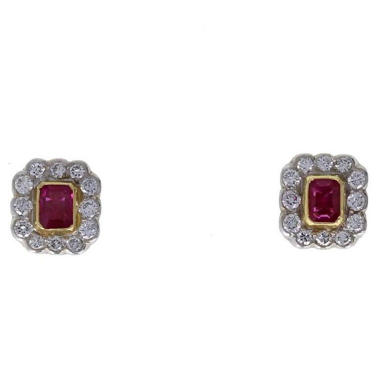 Vintage 18 Carat Gold Ruby Diamond Cluster Earrings