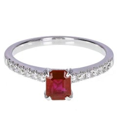 Modern Ruby Solitaire Engagement Ring with Diamond Shoulders