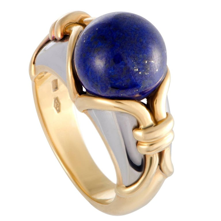 Bulgari Lapis Lazuli White and Yellow Gold Cocktail Ring For Sale