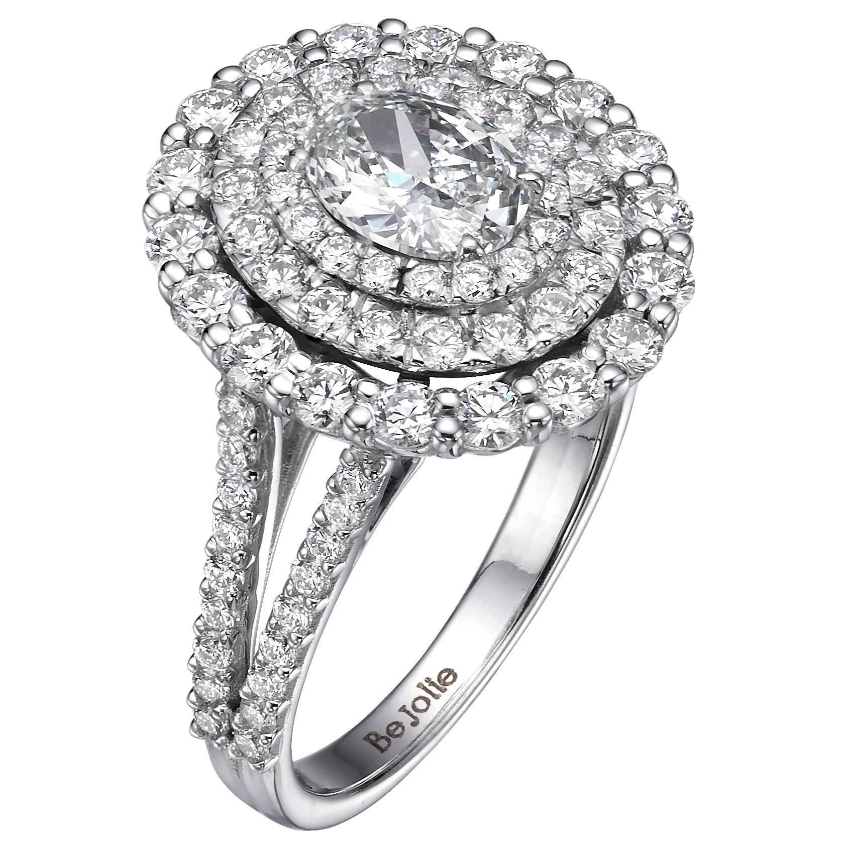 GIA Certified 2.14 Carat Oval Cut Diamond Triple Halo Engagement Ring G / VVS1