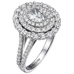 2.14 Carat Oval Cut Diamond Engagement Halo Ring GIA Certified G / VVS1
