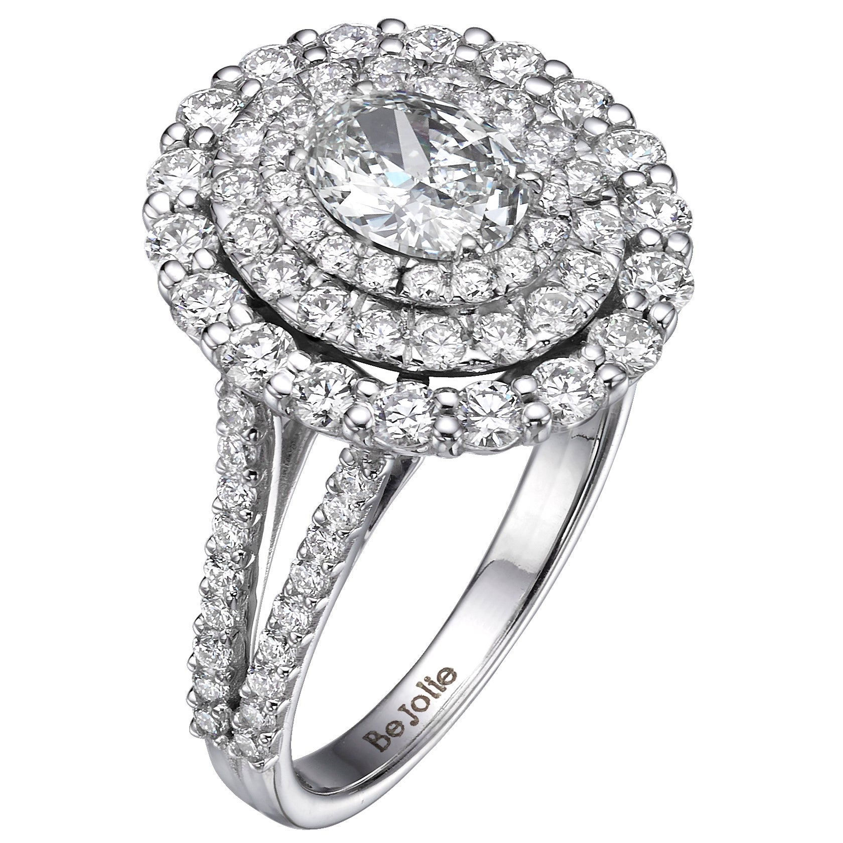 GIA Certified 2.14 Carat Oval Cut Diamond Triple Halo Engagement Ring G / VVS1