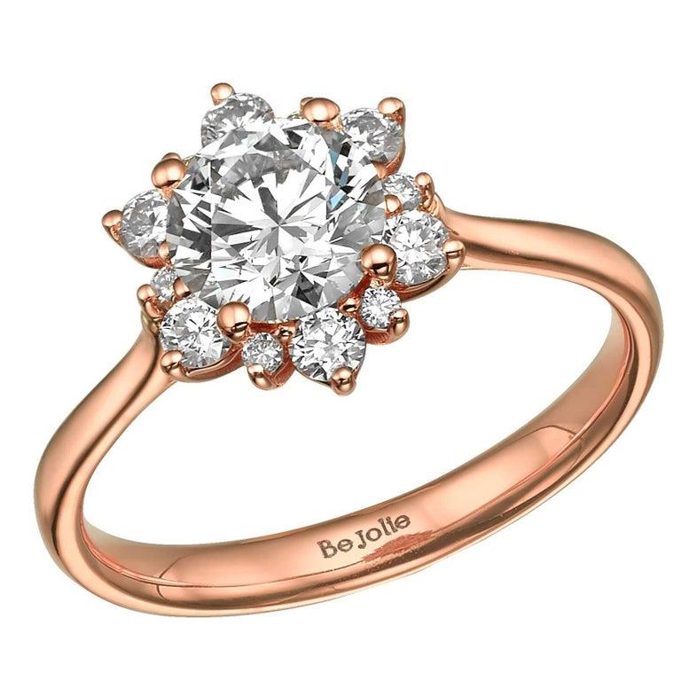 1.00 Carat Diamond Rose Gold engagement Ring GIA Certified