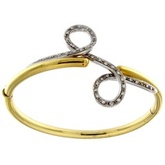 Yellow 18 Karat Gold Bracelet and White in Diamond Collection Double Drop