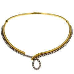 Rigid Necklace in Yellow and White Gold with Diamond, Collection Teardrop