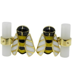 Hand Enameled Bee Shaped Natural White Agate Stick Back Yellow Gold Cufflinks