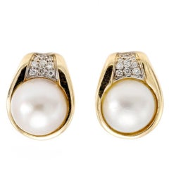 Vintage Diamond and Mabe Pearl Clip-On Earring in Yellow Gold